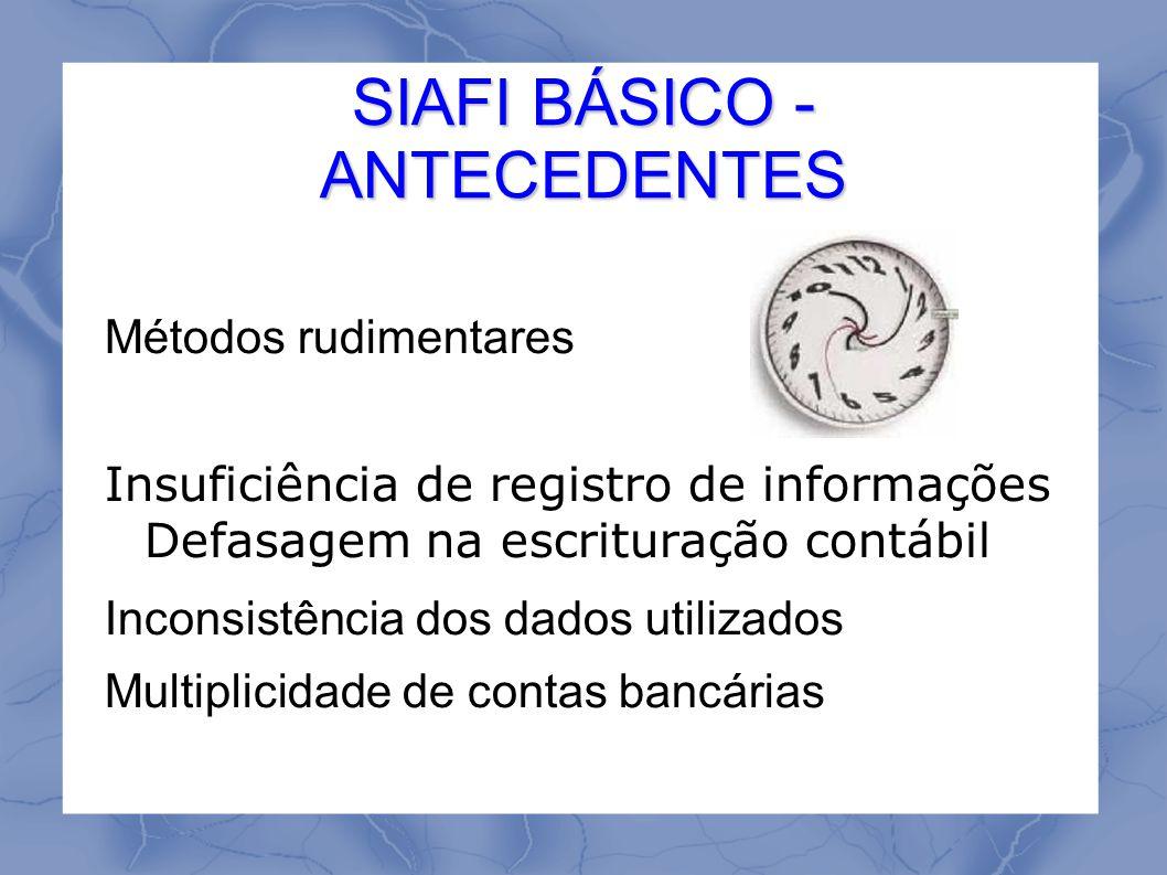 SIAFI BÁSICO - DIRETRIZ Promover a modernização e a integração dos sistemas de programação financeira, de execução orçamentária e de contabilidade dos Órgãos e Entidades da Administração Pública Federal