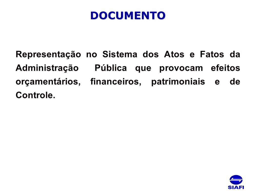 DOCUMENTO Representação no Sistema dos Atos e Fatos da Administração Pública que provocam efeitos orçamentários, financeiros, patrimoniais e de Controle.