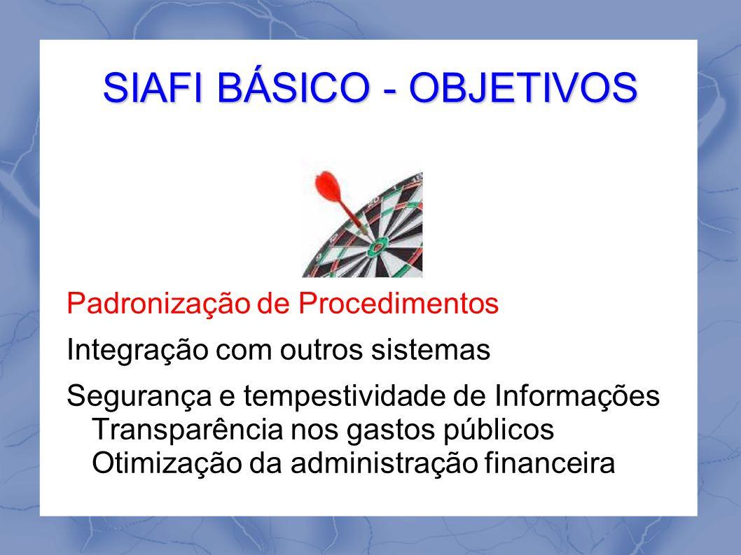 Padronização de Procedimentos Integração com outros sistemas Segurança e tempestividade de Informações Transparência nos gastos públicos Otimização da administração financeira