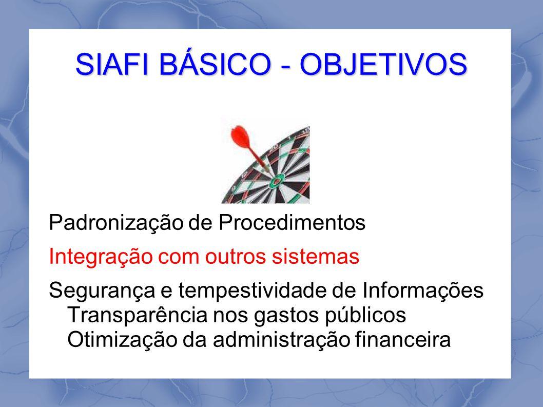 SIAFI BÁSICO - OBJETIVOS Padronização de Procedimentos Integração com outros sistemas Segurança e tempestividade de Informações Transparência nos gastos públicos Otimização da administração financeira