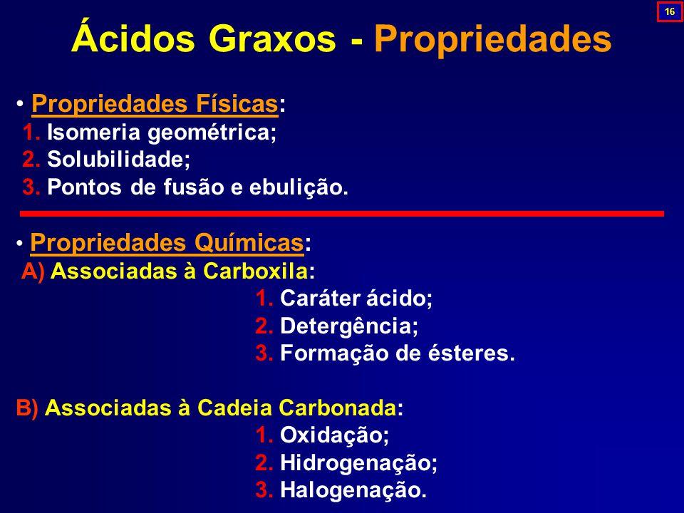 Propriedades Físicas: 1.Isomeria geométrica; 2. Solubilidade; 3.