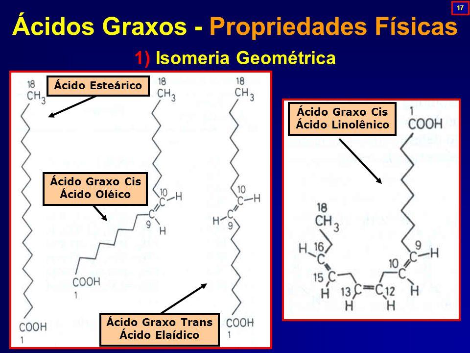 1) Isomeria Geométrica Ácidos Graxos - Propriedades Físicas Ácido Graxo Cis Ácido Oléico Ácido Esteárico Ácido Graxo Trans Ácido Elaídico Ácido Graxo Cis Ácido Linolênico 17