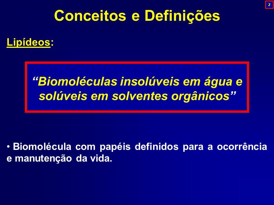 Lipídeos: Biomoléculas insolúveis em água e solúveis em solventes orgânicos Biomolécula com papéis definidos para a ocorrência e manutenção da vida.
