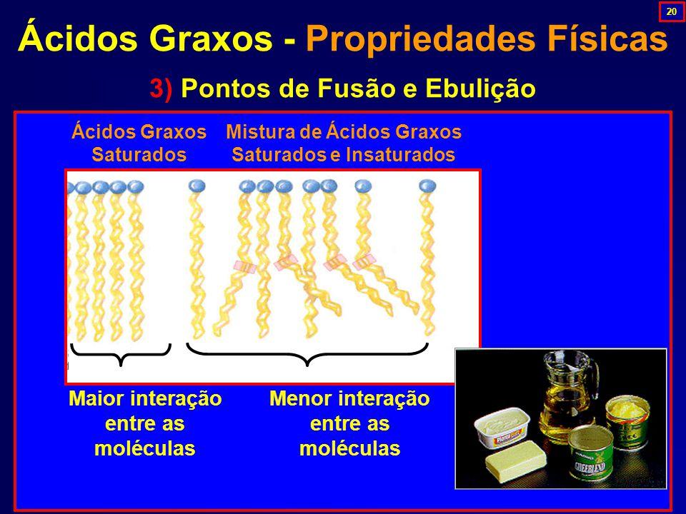 3) Pontos de Fusão e Ebulição Ácidos Graxos Saturados Mistura de Ácidos Graxos Saturados e Insaturados Maior interação entre as moléculas Menor interação entre as moléculas Ácidos Graxos - Propriedades Físicas 20