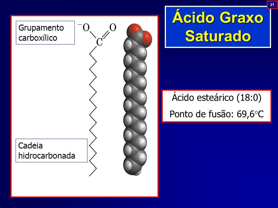 Grupamento carboxílico Cadeia hidrocarbonada Ácido esteárico (18:0) Ponto de fusão: 69,6  C Ácido Graxo Saturado 21