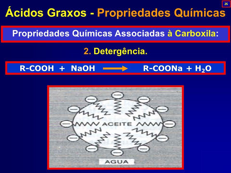 R-COOH + NaOH R-COONa + H 2 O 2.Detergência.
