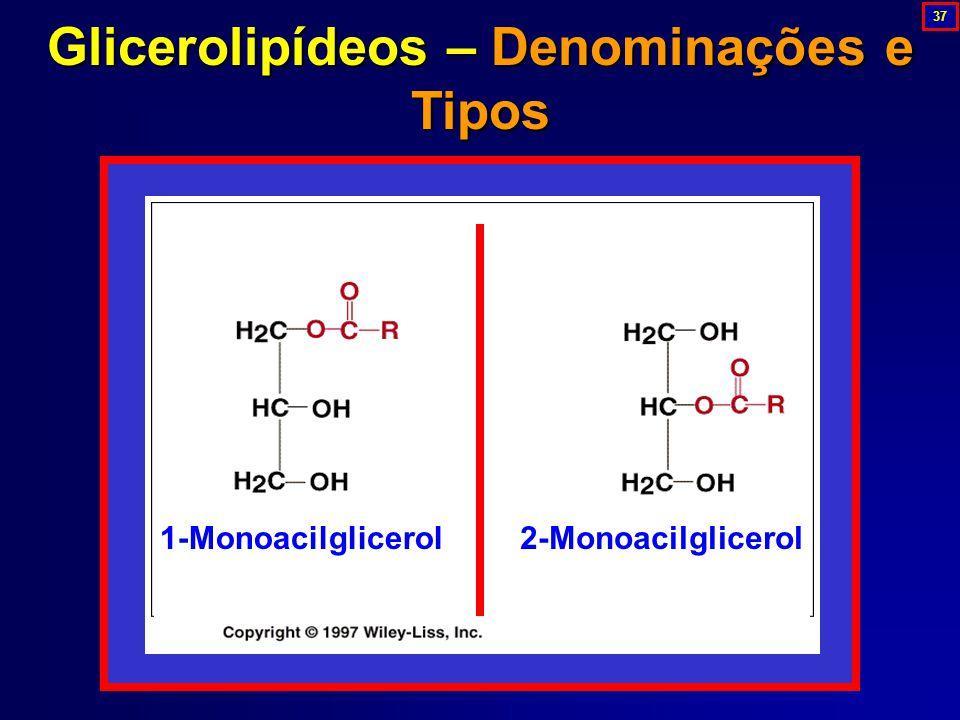 Glicerolipídeos – Denominações e Tipos 1-Monoacilglicerol2-Monoacilglicerol 37