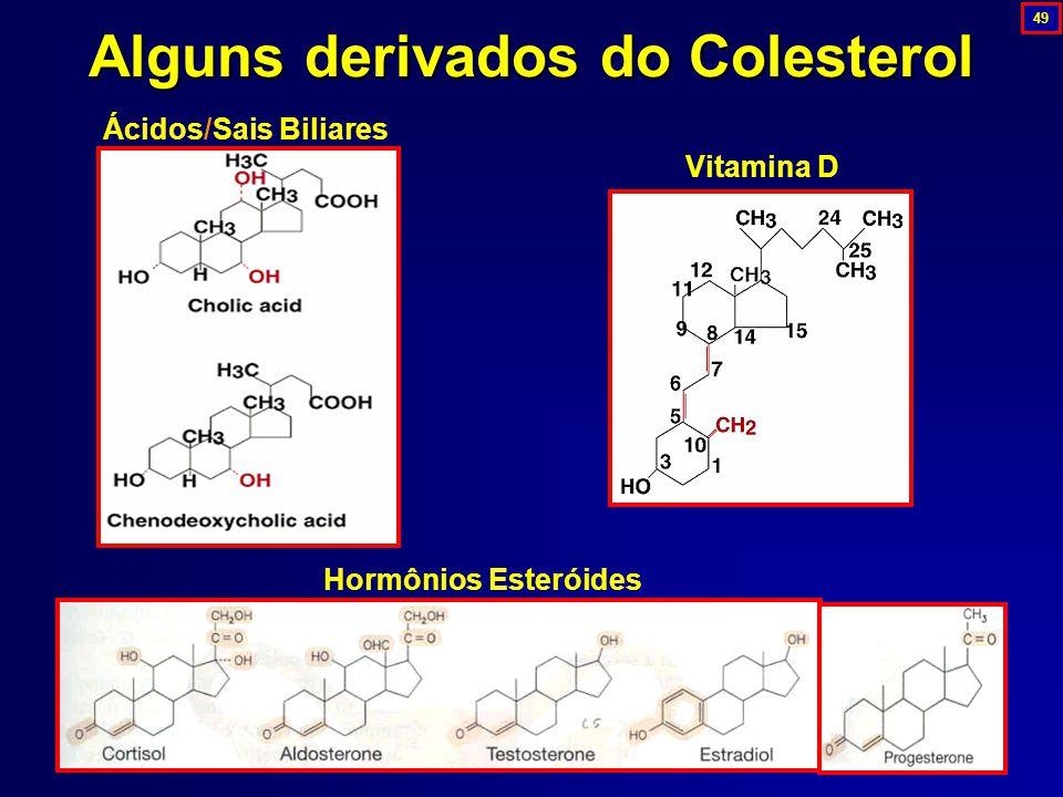 Alguns derivados do Colesterol Hormônios Esteróides Vitamina D Ácidos/Sais Biliares 49