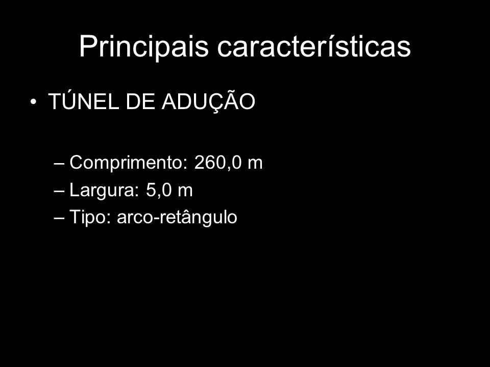 Principais características TÚNEL DE ADUÇÃO –Comprimento: 260,0 m –Largura: 5,0 m –Tipo: arco-retângulo