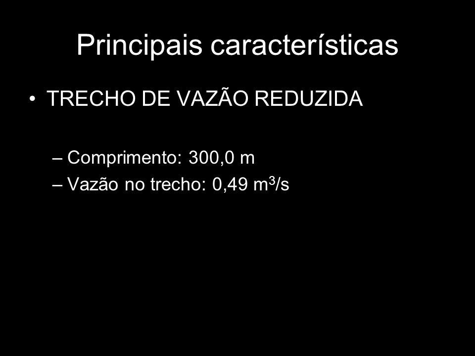 Principais características TRECHO DE VAZÃO REDUZIDA –Comprimento: 300,0 m –Vazão no trecho: 0,49 m 3 /s