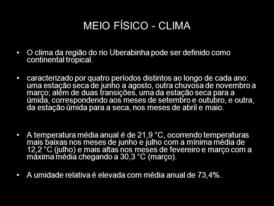 MEIO FÍSICO - CLIMA O clima da região do rio Uberabinha pode ser definido como continental tropical. caracterizado por quatro períodos distintos ao lo