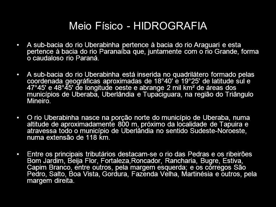 Meio Físico - HIDROGRAFIA A sub-bacia do rio Uberabinha pertence à bacia do rio Araguari e esta pertence à bacia do rio Paranaíba que, juntamente com