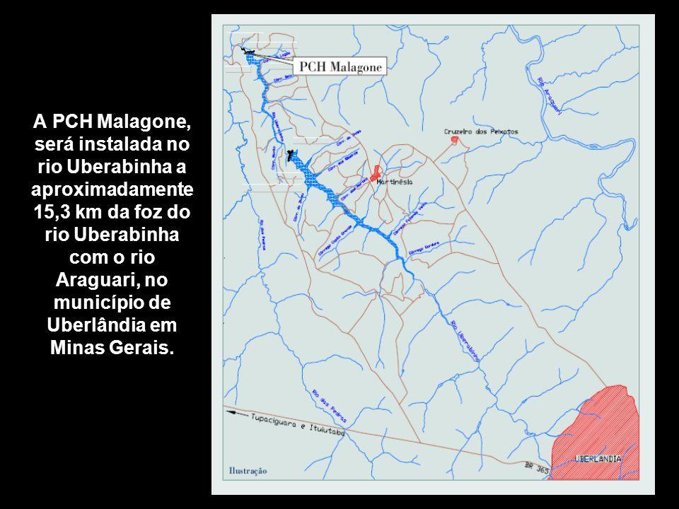 A PCH Malagone, será instalada no rio Uberabinha a aproximadamente 15,3 km da foz do rio Uberabinha com o rio Araguari, no município de Uberlândia em
