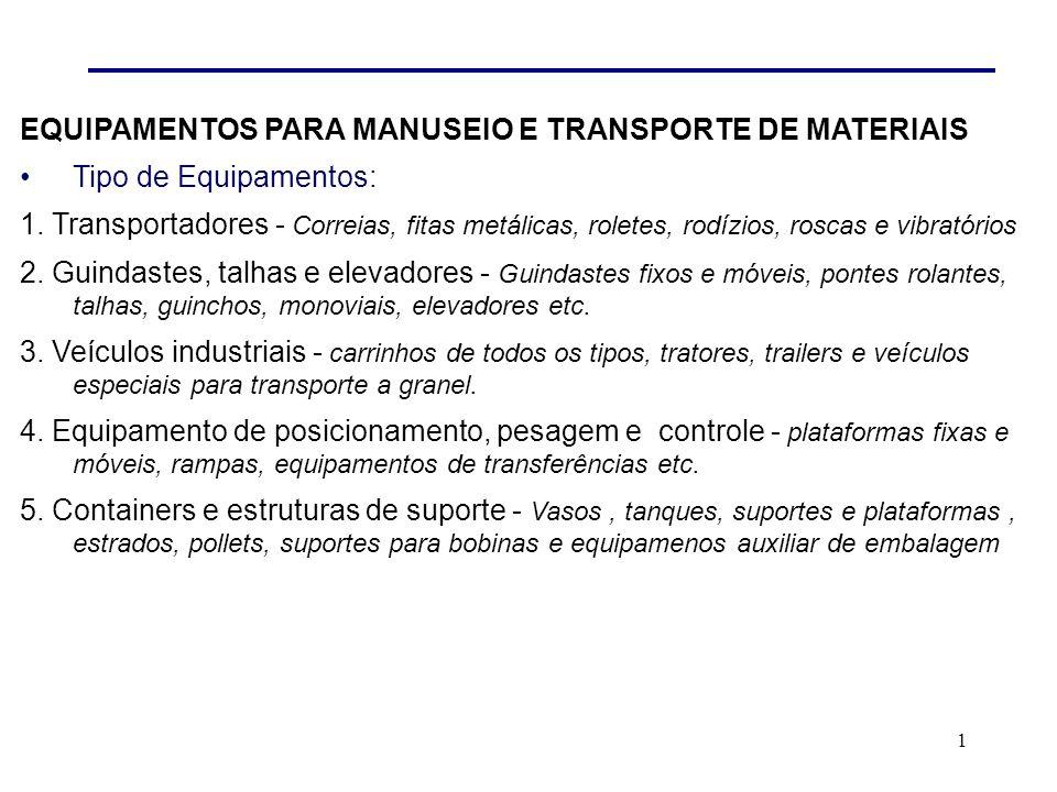 1 EQUIPAMENTOS PARA MANUSEIO E TRANSPORTE DE MATERIAIS Tipo de Equipamentos: 1.