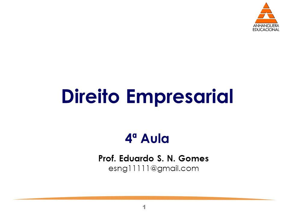 1 Direito Empresarial 4ª Aula Prof. Eduardo S. N. Gomes esng11111@gmail.com