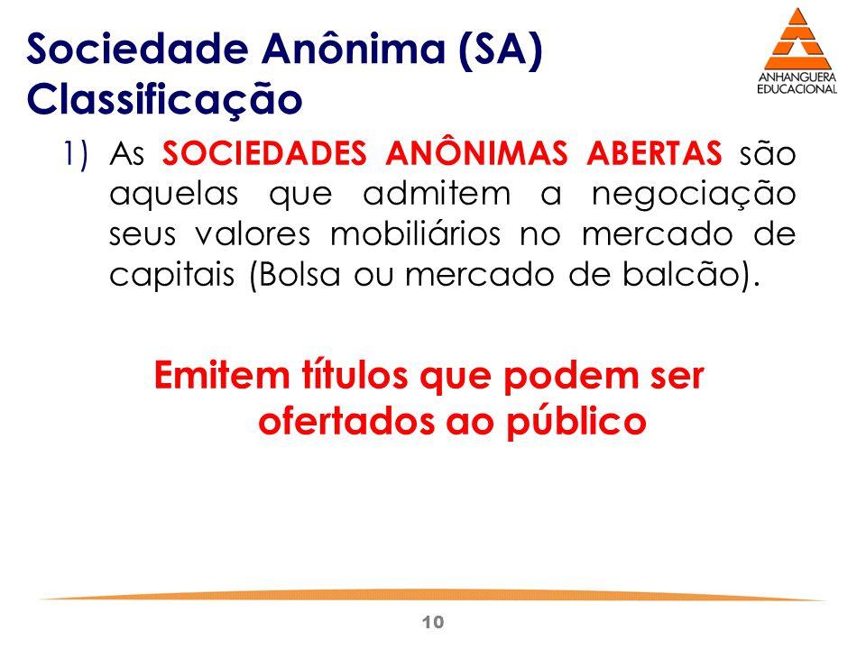 10 Sociedade Anônima (SA) Classificação 1)As SOCIEDADES ANÔNIMAS ABERTAS são aquelas que admitem a negociação seus valores mobiliários no mercado de c