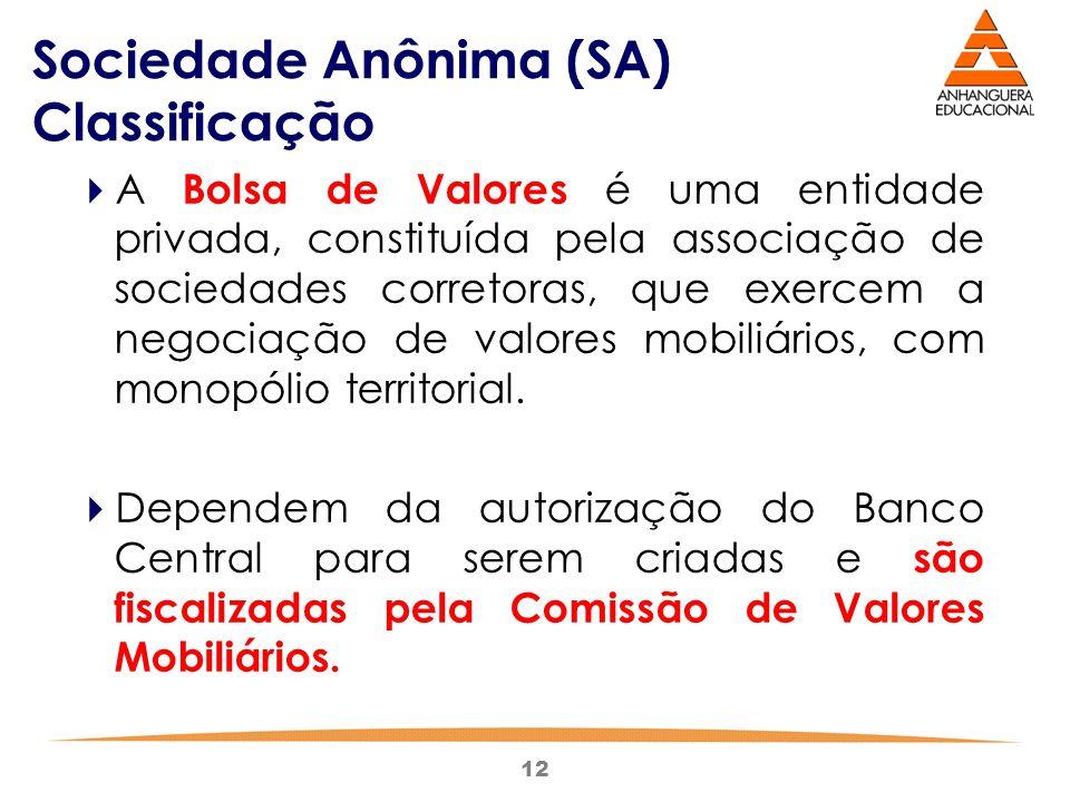 12 Sociedade Anônima (SA) Classificação  A Bolsa de Valores é uma entidade privada, constituída pela associação de sociedades corretoras, que exercem