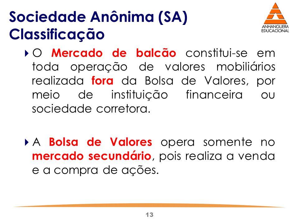 13 Sociedade Anônima (SA) Classificação  O Mercado de balcão constitui-se em toda operação de valores mobiliários realizada fora da Bolsa de Valores,