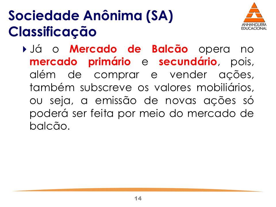 14 Sociedade Anônima (SA) Classificação  Já o Mercado de Balcão opera no mercado primário e secundário, pois, além de comprar e vender ações, também