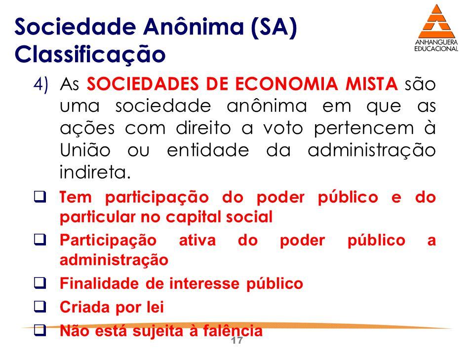 17 Sociedade Anônima (SA) Classificação 4)As SOCIEDADES DE ECONOMIA MISTA são uma sociedade anônima em que as ações com direito a voto pertencem à Uni