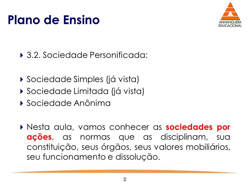 2 Plano de Ensino  3.2. Sociedade Personificada:  Sociedade Simples (já vista)  Sociedade Limitada (já vista)  Sociedade Anônima  Nesta aula, vam