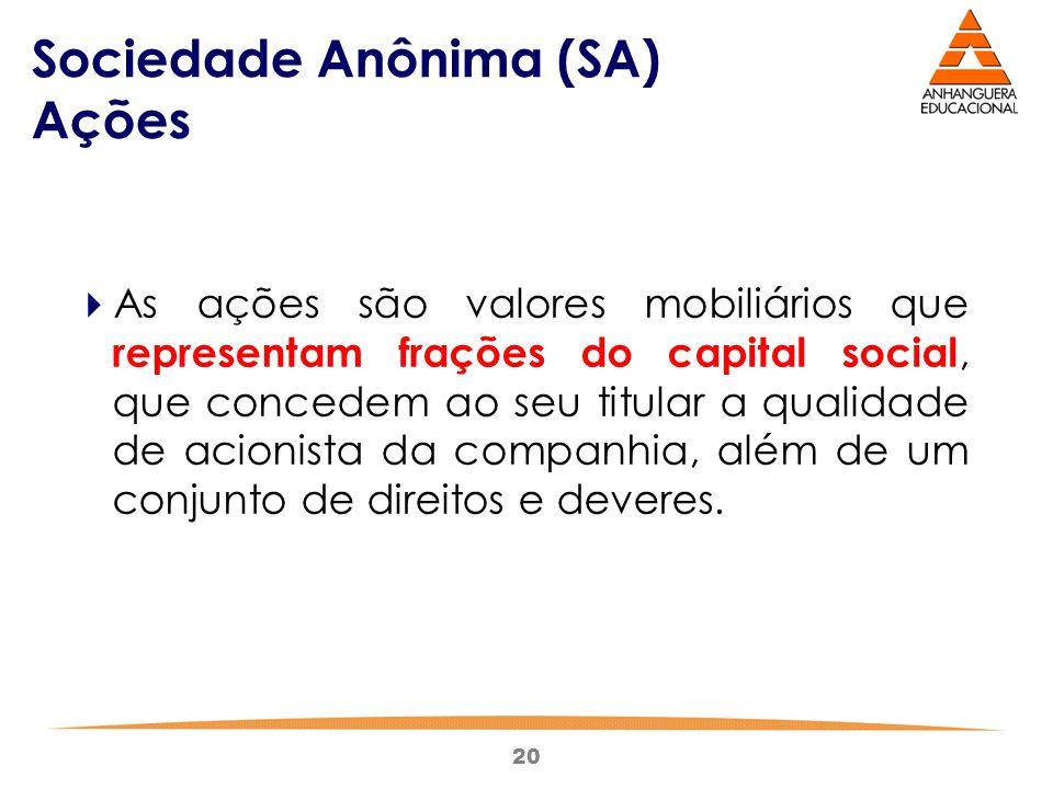 20 Sociedade Anônima (SA) Ações  As ações são valores mobiliários que representam frações do capital social, que concedem ao seu titular a qualidade
