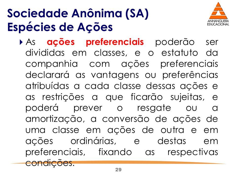 29 Sociedade Anônima (SA) Espécies de Ações  As ações preferenciais poderão ser divididas em classes, e o estatuto da companhia com ações preferencia