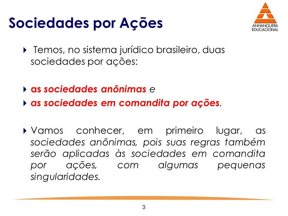 3 Sociedades por Ações  Temos, no sistema jurídico brasileiro, duas sociedades por ações:  as sociedades anônimas e  as sociedades em comandita por
