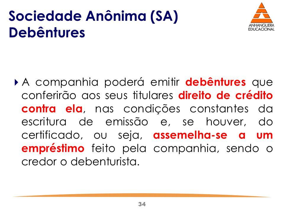 34 Sociedade Anônima (SA) Debêntures  A companhia poderá emitir debêntures que conferirão aos seus titulares direito de crédito contra ela, nas condi