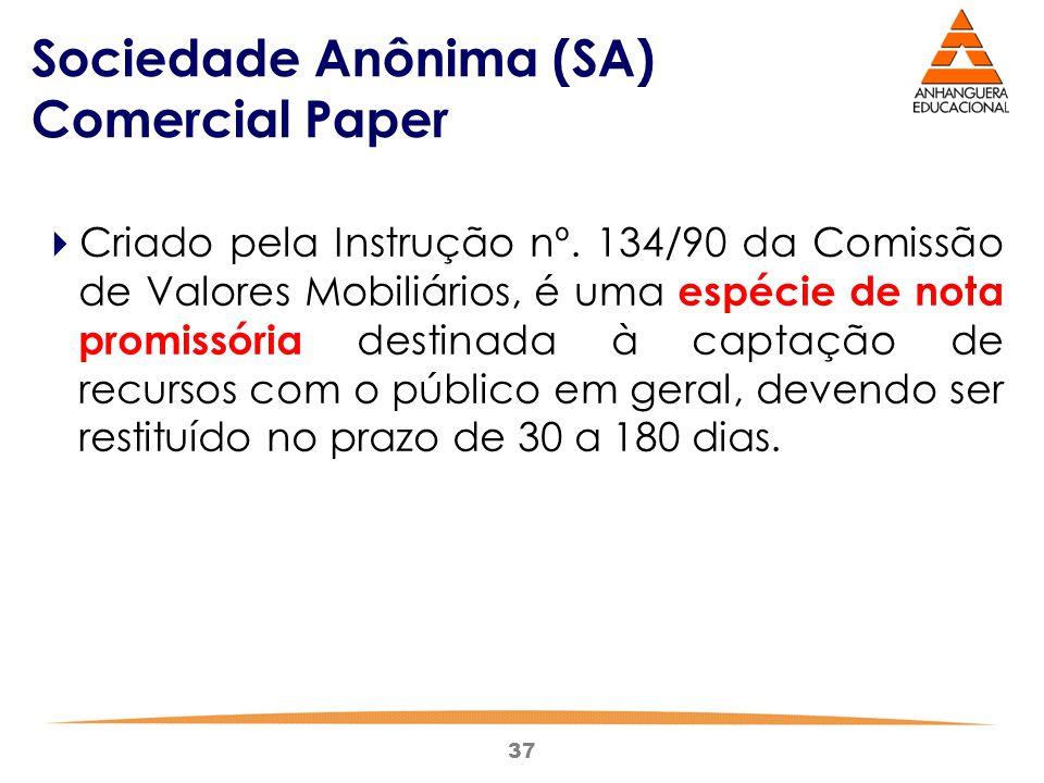 37 Sociedade Anônima (SA) Comercial Paper  Criado pela Instrução nº. 134/90 da Comissão de Valores Mobiliários, é uma espécie de nota promissória des