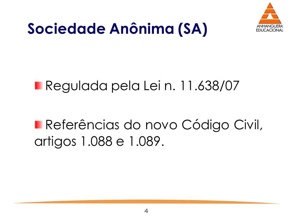 4 Sociedade Anônima (SA) Regulada pela Lei n. 11.638/07 Referências do novo Código Civil, artigos 1.088 e 1.089.