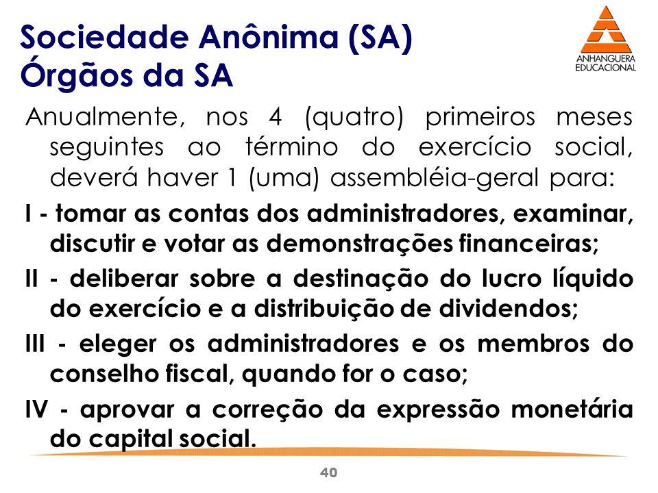 40 Sociedade Anônima (SA) Órgãos da SA Anualmente, nos 4 (quatro) primeiros meses seguintes ao término do exercício social, deverá haver 1 (uma) assem