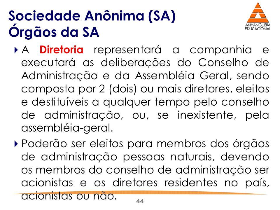 44 Sociedade Anônima (SA) Órgãos da SA  A Diretoria representará a companhia e executará as deliberações do Conselho de Administração e da Assembléia