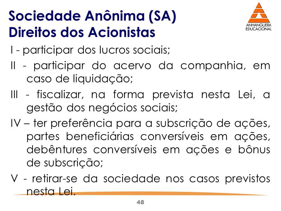 48 Sociedade Anônima (SA) Direitos dos Acionistas I - participar dos lucros sociais; II - participar do acervo da companhia, em caso de liquidação; II