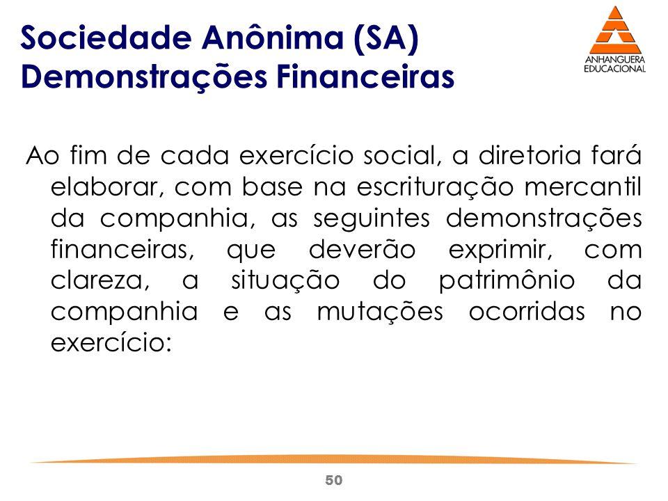 50 Sociedade Anônima (SA) Demonstrações Financeiras Ao fim de cada exercício social, a diretoria fará elaborar, com base na escrituração mercantil da