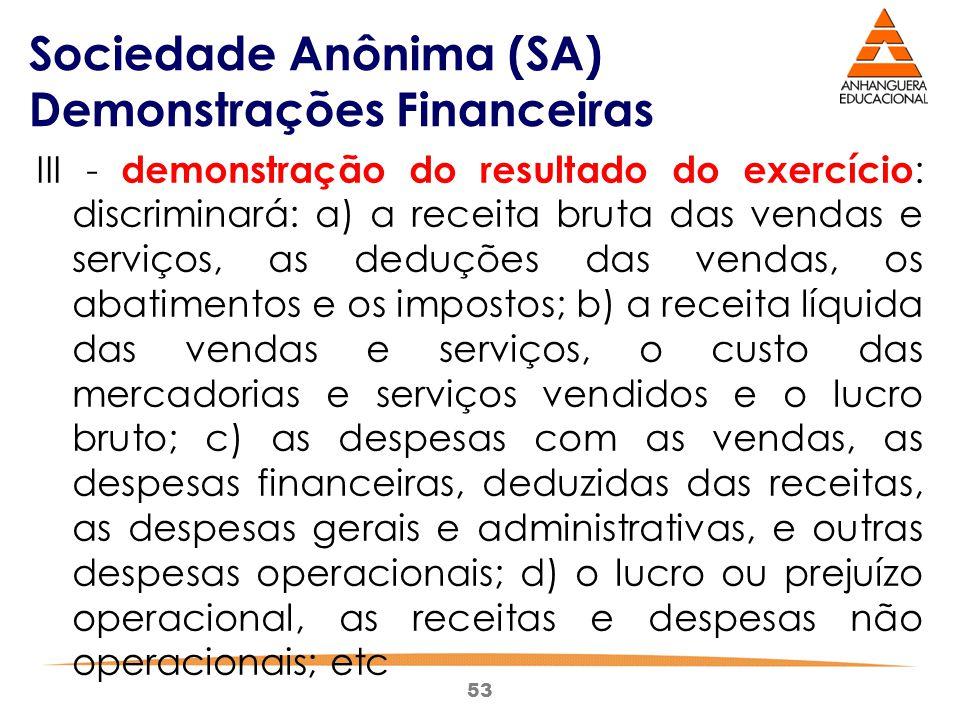 53 Sociedade Anônima (SA) Demonstrações Financeiras III - demonstração do resultado do exercício : discriminará: a) a receita bruta das vendas e servi