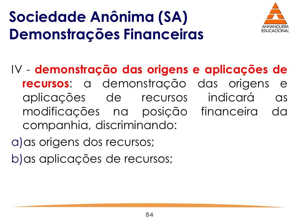 54 Sociedade Anônima (SA) Demonstrações Financeiras IV - demonstração das origens e aplicações de recursos : a demonstração das origens e aplicações d
