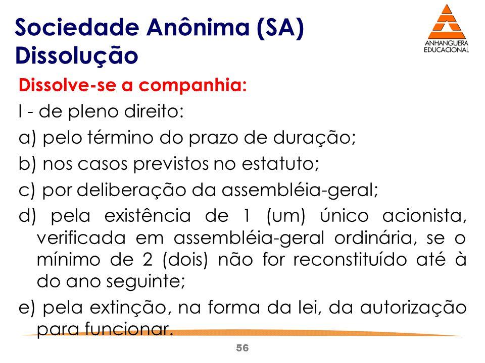 56 Sociedade Anônima (SA) Dissolução Dissolve-se a companhia: I - de pleno direito: a) pelo término do prazo de duração; b) nos casos previstos no est
