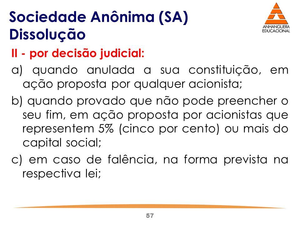 57 Sociedade Anônima (SA) Dissolução II - por decisão judicial: a) quando anulada a sua constituição, em ação proposta por qualquer acionista; b) quan
