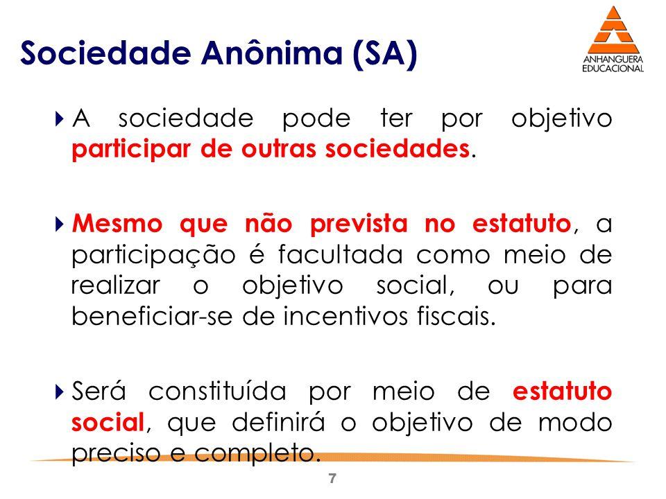 7 Sociedade Anônima (SA)  A sociedade pode ter por objetivo participar de outras sociedades.  Mesmo que não prevista no estatuto, a participação é f