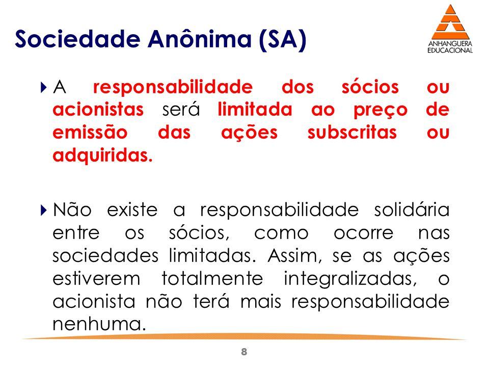 8 Sociedade Anônima (SA)  A responsabilidade dos sócios ou acionistas será limitada ao preço de emissão das ações subscritas ou adquiridas.  Não exi