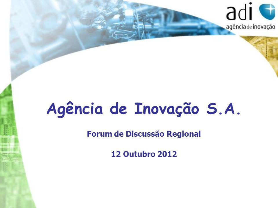 Agência de Inovação S.A. Forum de Discussão Regional 12 Outubro 2012