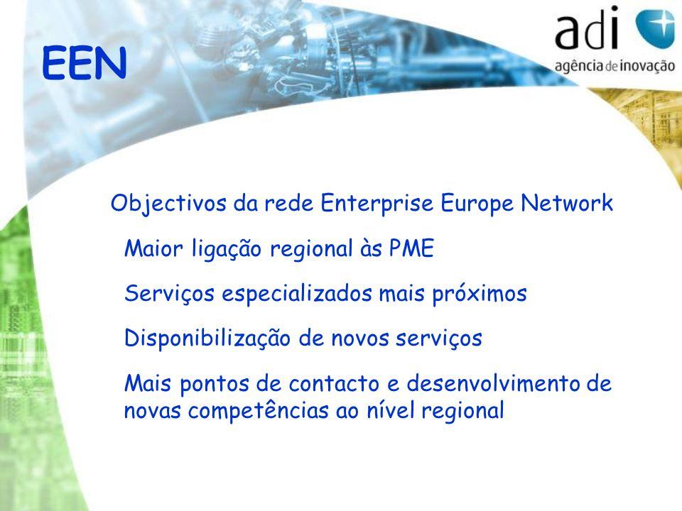 EEN Objectivos da rede Enterprise Europe Network Maior ligação regional às PME Serviços especializados mais próximos Disponibilização de novos serviços Mais pontos de contacto e desenvolvimento de novas competências ao nível regional