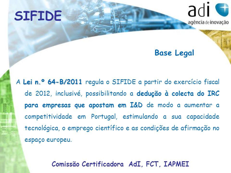 Base Legal Lei n.º 64-B/2011 A Lei n.º 64-B/2011 regula o SIFIDE a partir do exercício fiscal de 2012, inclusivé, possibilitando a dedução à colecta do IRC para empresas que apostam em I&D de modo a aumentar a competitividade em Portugal, estimulando a sua capacidade tecnológica, o emprego científico e as condições de afirmação no espaço europeu.