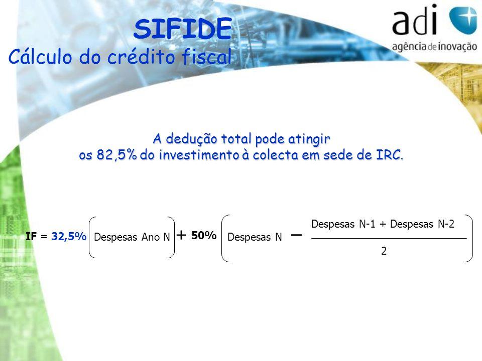 IF = 32,5% Despesas Ano N + 50% Despesas N _ Despesas N-1 + Despesas N-2 2 SIFIDE Cálculo do crédito fiscal A dedução total pode atingir os 82,5% do investimento à colecta em sede de IRC.