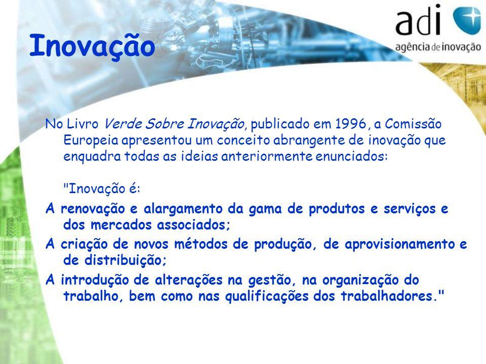 Inovação No Livro Verde Sobre Inovação, publicado em 1996, a Comissão Europeia apresentou um conceito abrangente de inovação que enquadra todas as ide