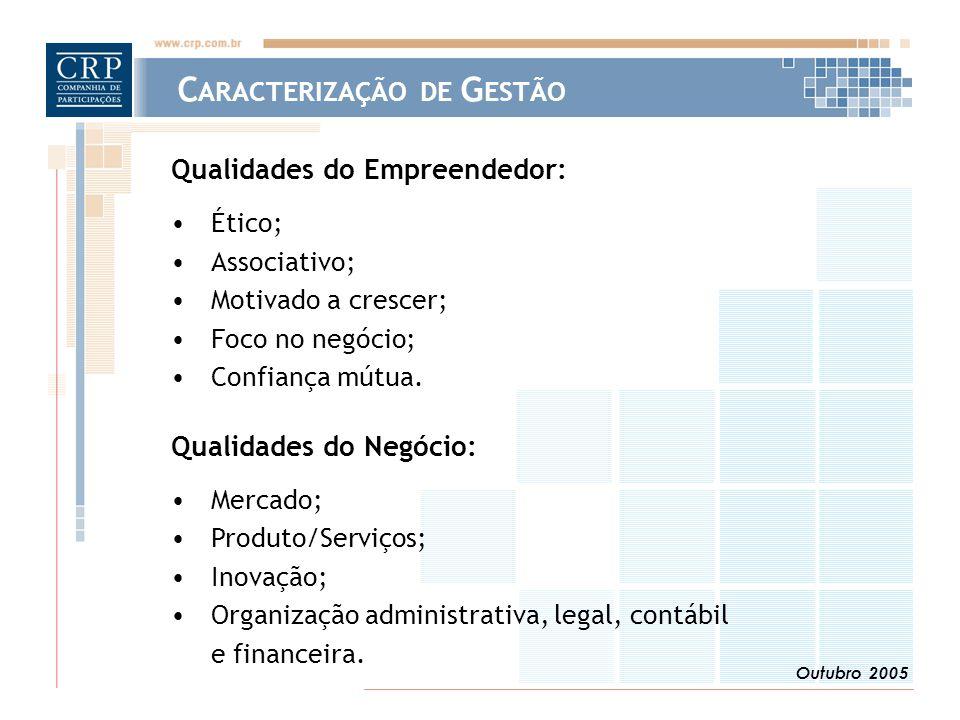 Outubro 2005 Qualidades do Empreendedor: Ético; Associativo; Motivado a crescer; Foco no negócio; Confiança mútua. Qualidades do Negócio: Mercado; Pro