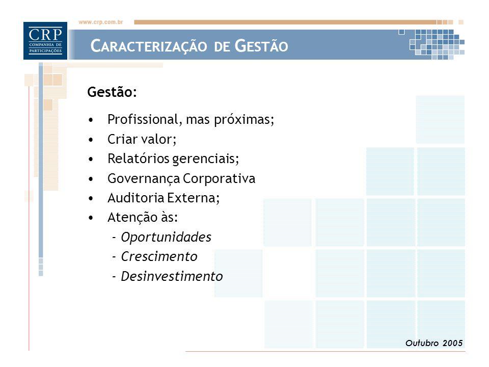 Outubro 2005 Gestão: Profissional, mas próximas; Criar valor; Relatórios gerenciais; Governança Corporativa Auditoria Externa; Atenção às: - Oportunidades - Crescimento - Desinvestimento C ARACTERIZAÇÃO DE G ESTÃO