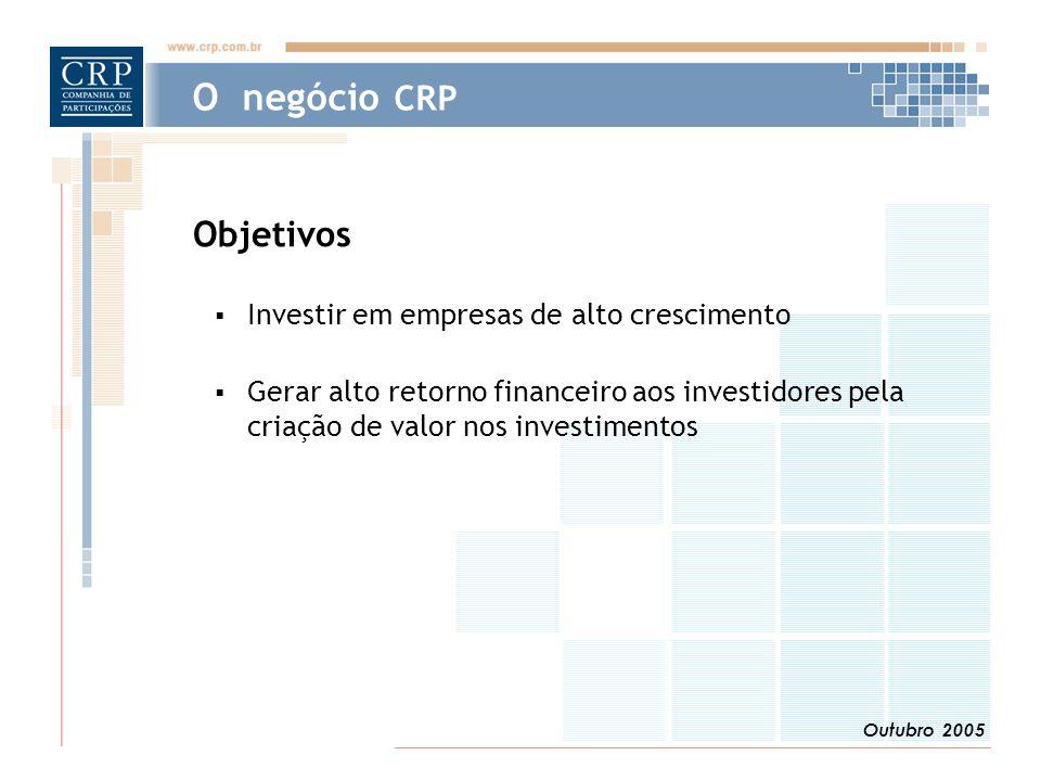 Outubro 2005 O negócio CRP Objetivos  Investir em empresas de alto crescimento  Gerar alto retorno financeiro aos investidores pela criação de valor nos investimentos