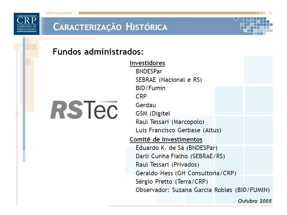 Outubro 2005 Investidores BNDESPar SEBRAE (Nacional e RS) BID/Fumin CRP Gerdau GSM (Digitel Raul Tessari (Marcopolo) Luis Francisco Gerbase (Altus) Comitê de Investimentos Eduardo K.